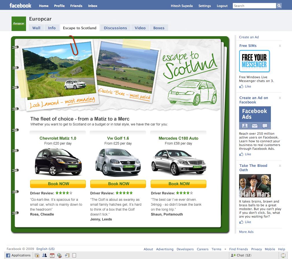 Europcar campaign facebook page